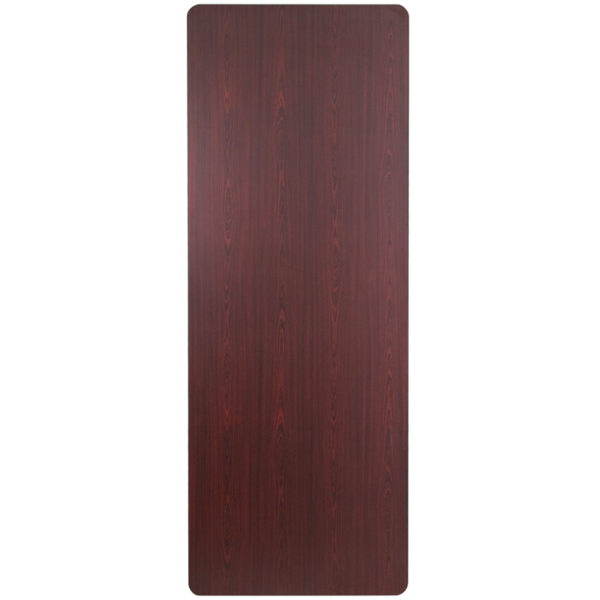 Lowest Price 36'' x 96'' Rectangular Mahogany Melamine Laminate Folding Banquet Table