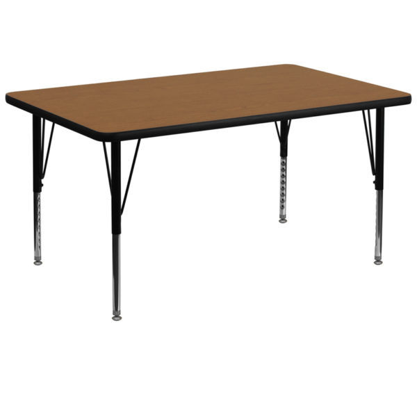 Wholesale 36''W x 72''L Rectangular Oak Thermal Laminate Activity Table - Height Adjustable Short Legs
