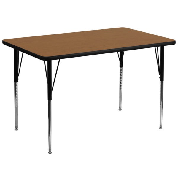 Wholesale 36''W x 72''L Rectangular Oak Thermal Laminate Activity Table - Standard Height Adjustable Legs
