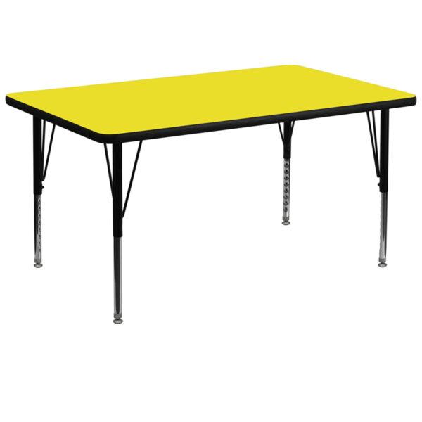 Wholesale 36''W x 72''L Rectangular Yellow HP Laminate Activity Table - Height Adjustable Short Legs