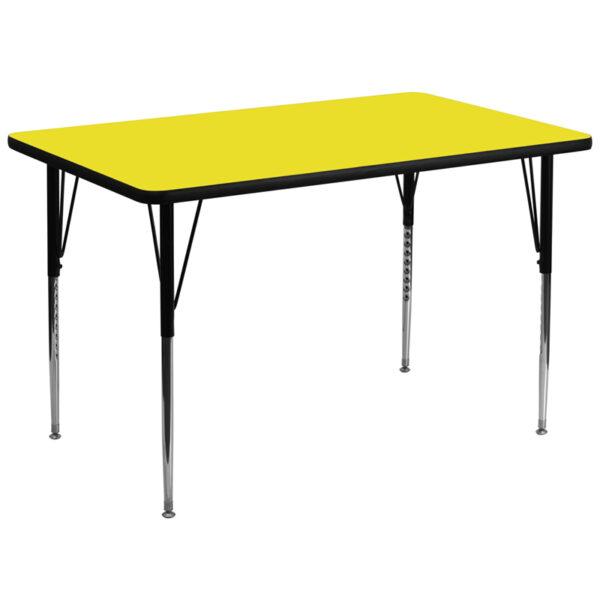 Wholesale 36''W x 72''L Rectangular Yellow HP Laminate Activity Table - Standard Height Adjustable Legs