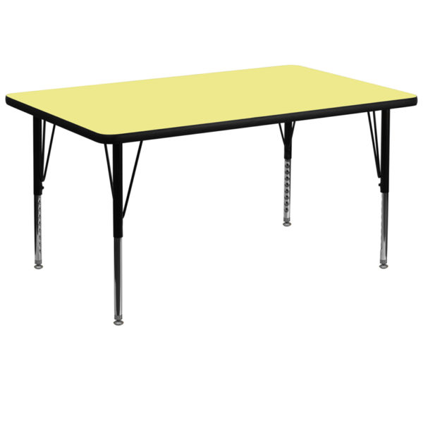 Wholesale 36''W x 72''L Rectangular Yellow Thermal Laminate Activity Table - Height Adjustable Short Legs