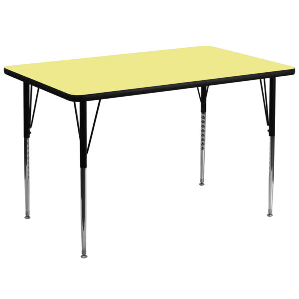 Wholesale 36''W x 72''L Rectangular Yellow Thermal Laminate Activity Table - Standard Height Adjustable Legs