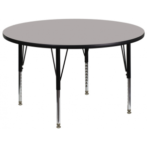 Wholesale 42'' Round Grey HP Laminate Activity Table - Height Adjustable Short Legs