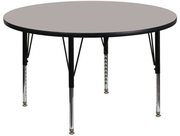 Wholesale 42'' Round Grey HP Laminate Activity Table - Height Adjustable Short Legs