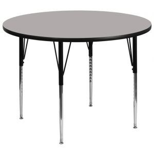 Wholesale 42'' Round Grey HP Laminate Activity Table - Standard Height Adjustable Legs