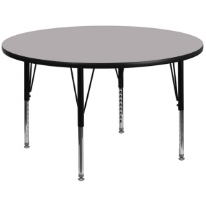 Wholesale 42'' Round Grey Thermal Laminate Activity Table - Height Adjustable Short Legs