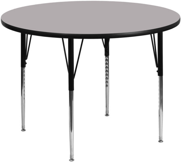 Wholesale 42'' Round Grey Thermal Laminate Activity Table - Standard Height Adjustable Legs
