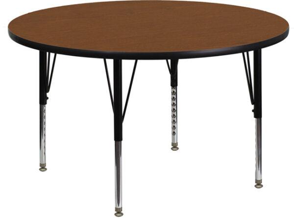 Wholesale 42'' Round Oak HP Laminate Activity Table - Height Adjustable Short Legs