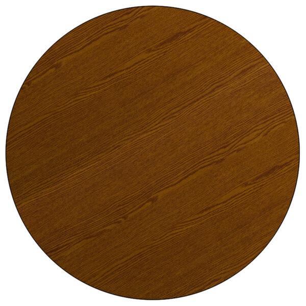 Lowest Price 42'' Round Oak HP Laminate Activity Table - Standard Height Adjustable Legs