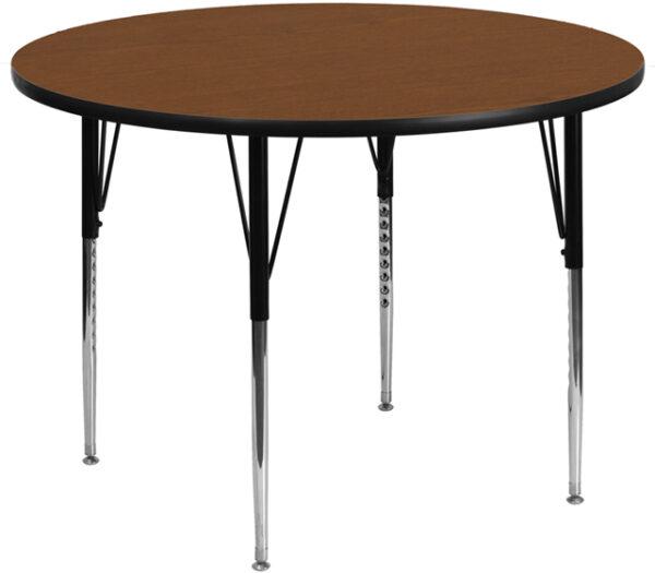 Wholesale 42'' Round Oak HP Laminate Activity Table - Standard Height Adjustable Legs