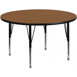 Wholesale 42'' Round Oak Thermal Laminate Activity Table - Height Adjustable Short Legs
