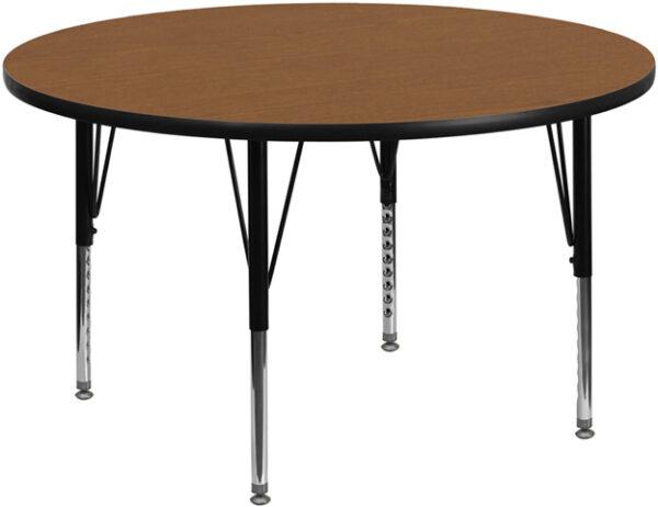 Wholesale 42'' Round Oak Thermal Laminate Activity Table - Height Adjustable Short Legs