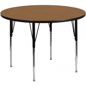 Wholesale 42'' Round Oak Thermal Laminate Activity Table - Standard Height Adjustable Legs