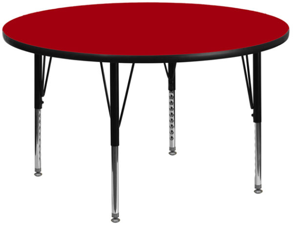 Wholesale 42'' Round Red Thermal Laminate Activity Table - Height Adjustable Short Legs