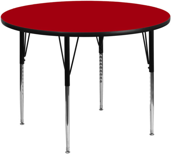 Wholesale 42'' Round Red Thermal Laminate Activity Table - Standard Height Adjustable Legs