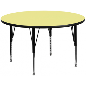 Wholesale 42'' Round Yellow Thermal Laminate Activity Table - Height Adjustable Short Legs