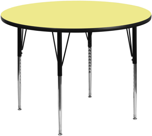 Wholesale 42'' Round Yellow Thermal Laminate Activity Table - Standard Height Adjustable Legs