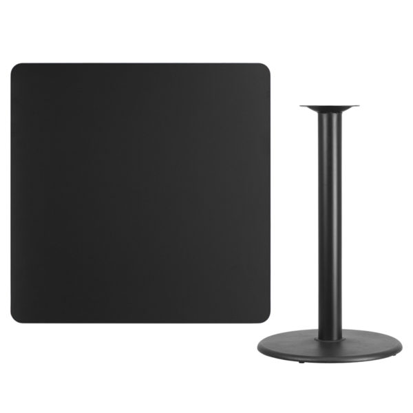 Lowest Price 42'' Square Black Laminate Table Top with 24'' Round Bar Height Table Base