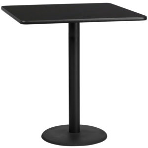 Wholesale 42'' Square Black Laminate Table Top with 24'' Round Bar Height Table Base