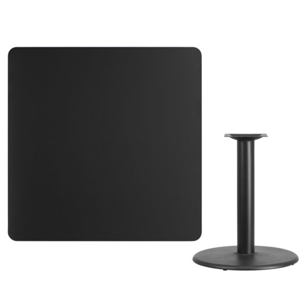 Lowest Price 42'' Square Black Laminate Table Top with 24'' Round Table Height Base