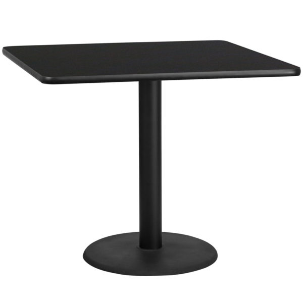 Wholesale 42'' Square Black Laminate Table Top with 24'' Round Table Height Base