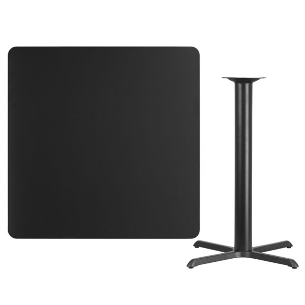 Lowest Price 42'' Square Black Laminate Table Top with 33'' x 33'' Bar Height Table Base
