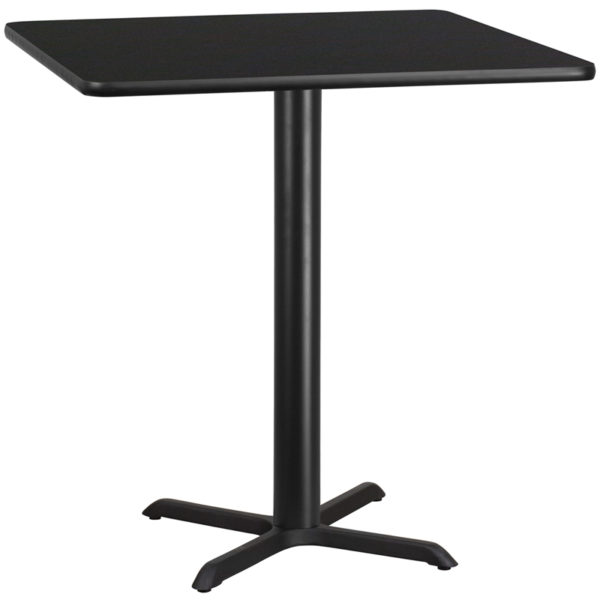 Wholesale 42'' Square Black Laminate Table Top with 33'' x 33'' Bar Height Table Base