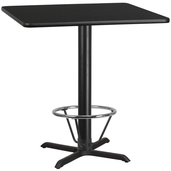 Wholesale 42'' Square Black Laminate Table Top with 33'' x 33'' Bar Height Table Base and Foot Ring