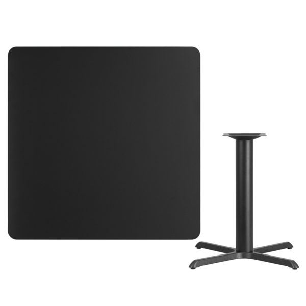 Lowest Price 42'' Square Black Laminate Table Top with 33'' x 33'' Table Height Base