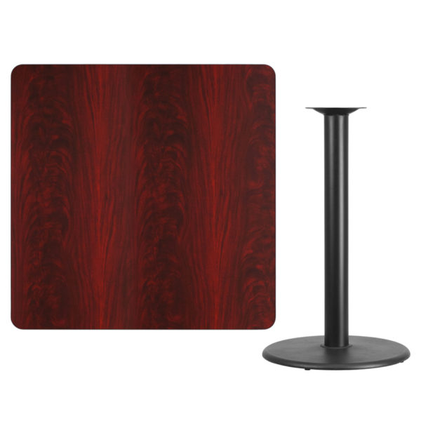 Lowest Price 42'' Square Mahogany Laminate Table Top with 24'' Round Bar Height Table Base