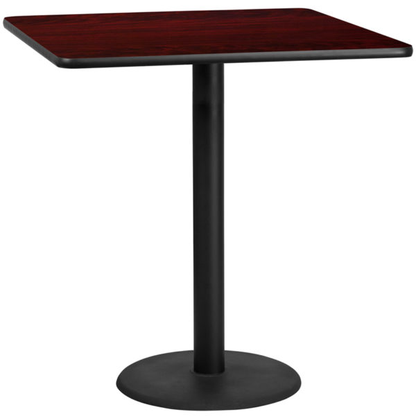 Wholesale 42'' Square Mahogany Laminate Table Top with 24'' Round Bar Height Table Base