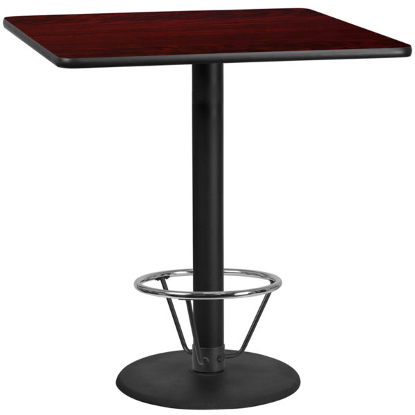 Wholesale 42'' Square Mahogany Laminate Table Top with 24'' Round Bar Height Table Base and Foot Ring