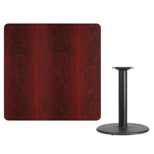 Lowest Price 42'' Square Mahogany Laminate Table Top with 24'' Round Table Height Base