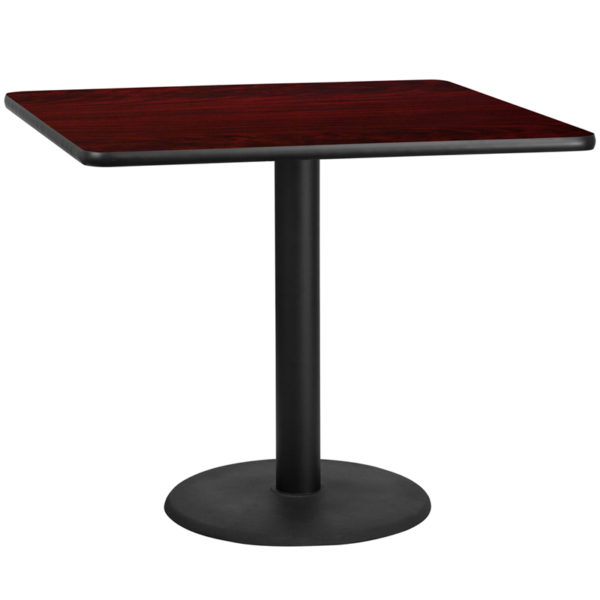 Wholesale 42'' Square Mahogany Laminate Table Top with 24'' Round Table Height Base