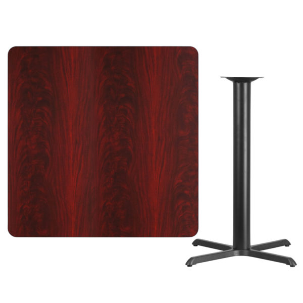 Lowest Price 42'' Square Mahogany Laminate Table Top with 33'' x 33'' Bar Height Table Base