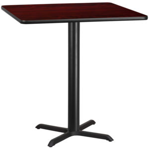 Wholesale 42'' Square Mahogany Laminate Table Top with 33'' x 33'' Bar Height Table Base