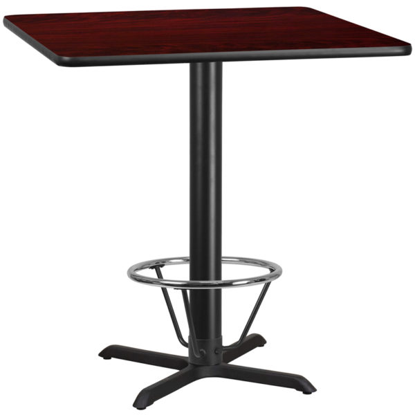 Wholesale 42'' Square Mahogany Laminate Table Top with 33'' x 33'' Bar Height Table Base and Foot Ring