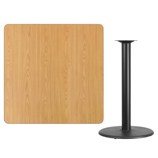 Lowest Price 42'' Square Natural Laminate Table Top with 24'' Round Bar Height Table Base