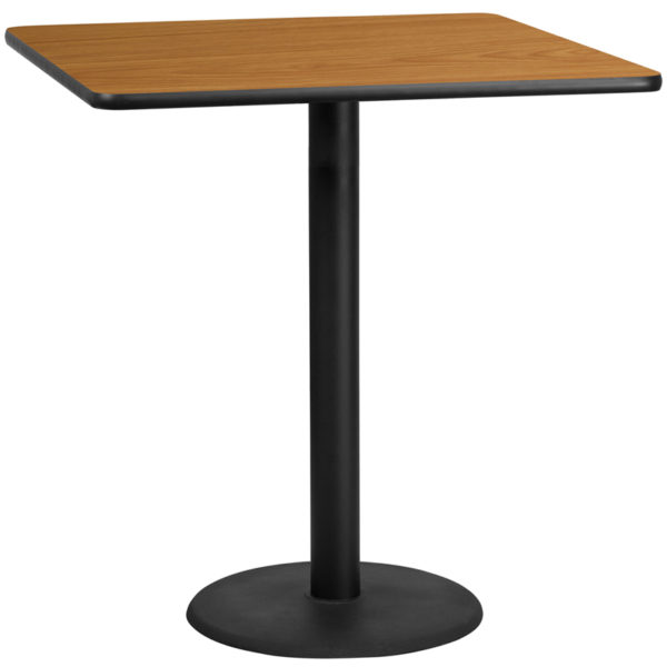 Wholesale 42'' Square Natural Laminate Table Top with 24'' Round Bar Height Table Base