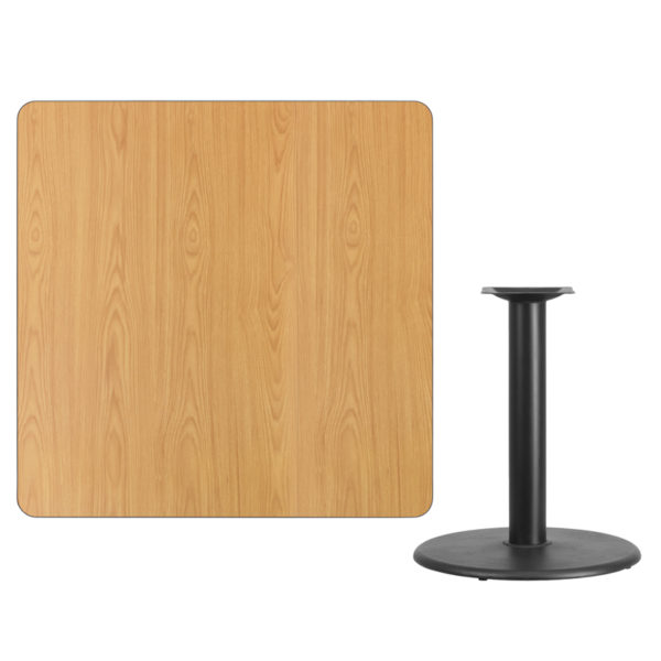 Lowest Price 42'' Square Natural Laminate Table Top with 24'' Round Table Height Base