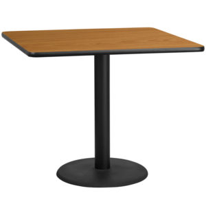 Wholesale 42'' Square Natural Laminate Table Top with 24'' Round Table Height Base