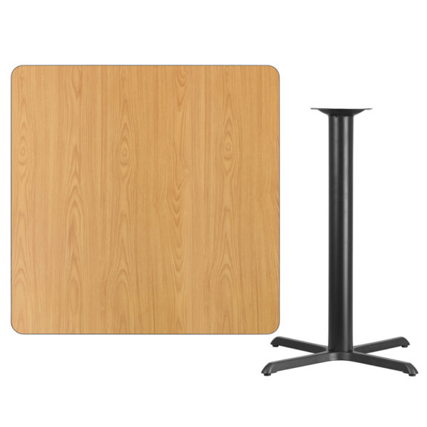 Lowest Price 42'' Square Natural Laminate Table Top with 33'' x 33'' Bar Height Table Base