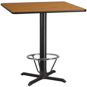Wholesale 42'' Square Natural Laminate Table Top with 33'' x 33'' Bar Height Table Base and Foot Ring