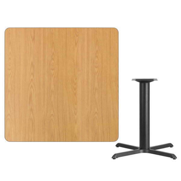 Lowest Price 42'' Square Natural Laminate Table Top with 33'' x 33'' Table Height Base