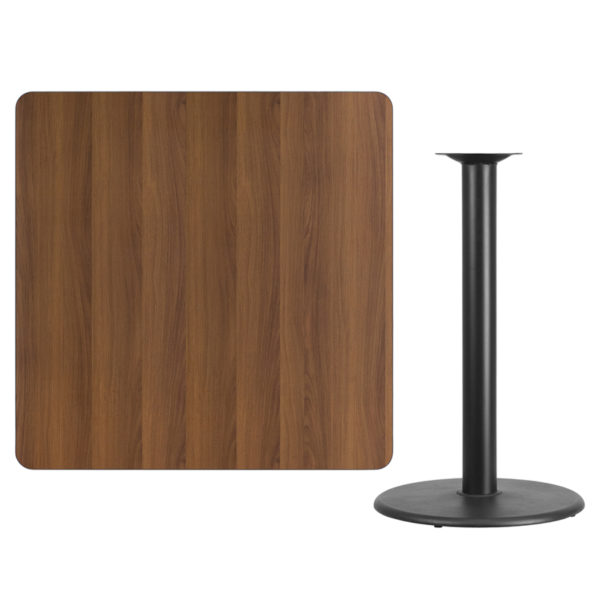 Lowest Price 42'' Square Walnut Laminate Table Top with 24'' Round Bar Height Table Base