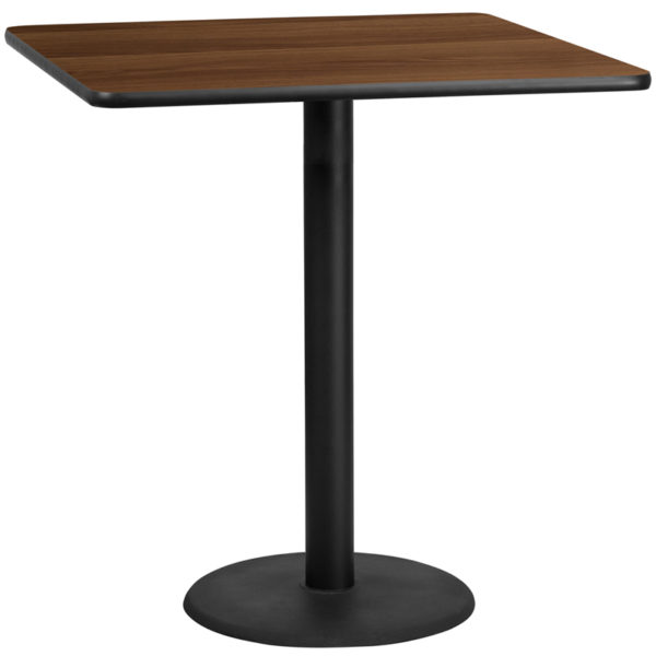 Wholesale 42'' Square Walnut Laminate Table Top with 24'' Round Bar Height Table Base