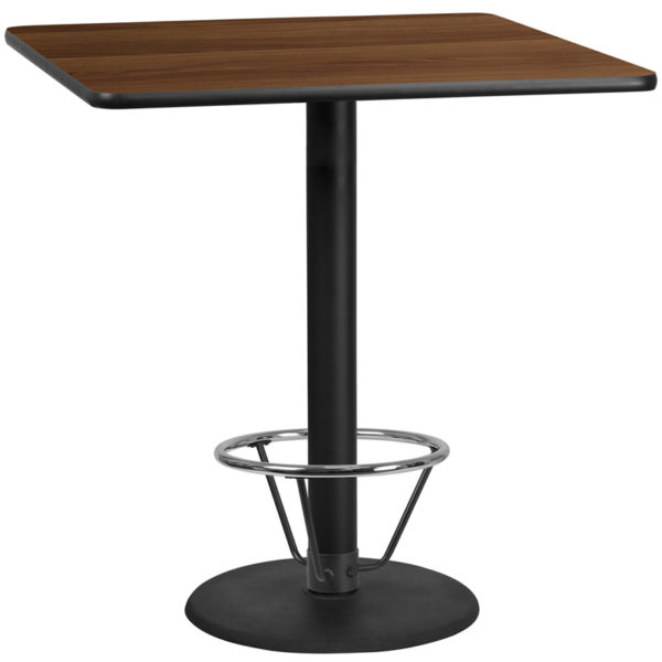 Wholesale 42'' Square Walnut Laminate Table Top with 24'' Round Bar Height Table Base and Foot Ring