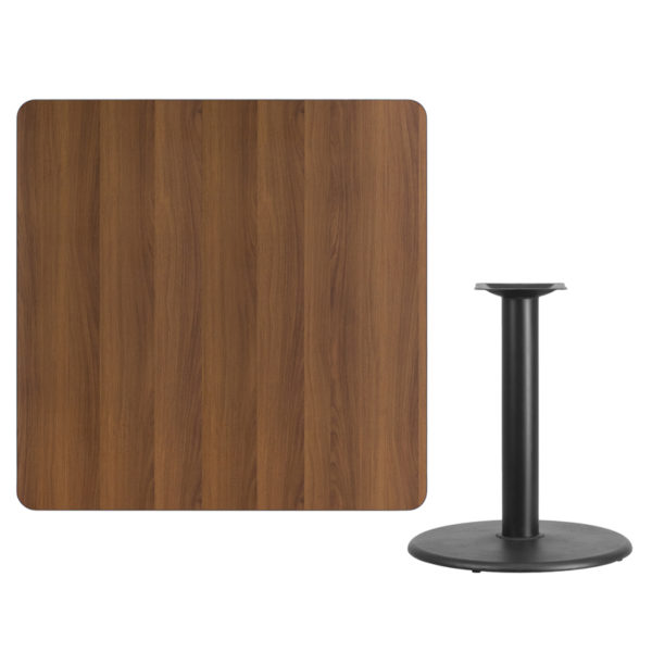 Lowest Price 42'' Square Walnut Laminate Table Top with 24'' Round Table Height Base