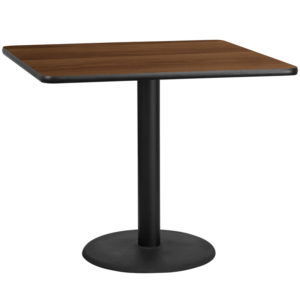Wholesale 42'' Square Walnut Laminate Table Top with 24'' Round Table Height Base